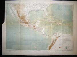 Central America: 1891 Antique Map, Honduras, Gulf of Mexico, Reclus